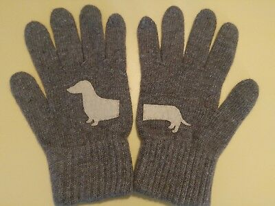 Talkingloves Dachshund Womens Kids Gloves Brown Wool NWOT