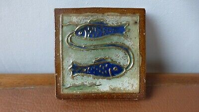 Antique ceramic tile. Carreau céramique.Sign of the fish. Sandstone GUERIN.