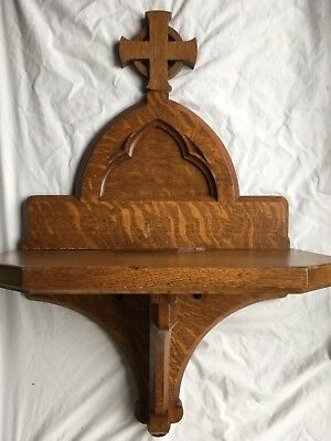 """Antique Wood Architectural Salvage Church Christian VINTAGE Hall Entry Shelf 30"""""""