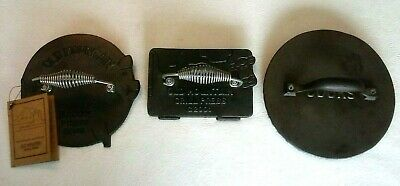 Lot of 3 Cast Iron Bacon Presses - 2 New & 1 Used