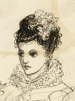 Albert A. Harcourt, Lady in Theatrical Dress – Late 19th-century ink drawing