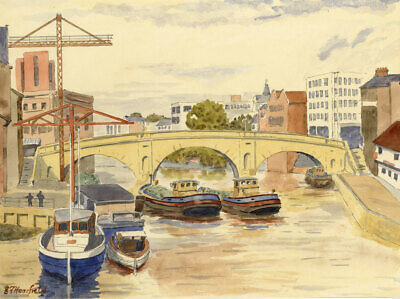 E.F. Hearfield, Towards Ouse Bridge, York - Original 1980s watercolour painting