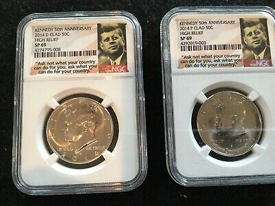 2014 P /& D Set Clad JFK Kennedy 50th Anniversary Half Dollars Graded SP66 by NGC