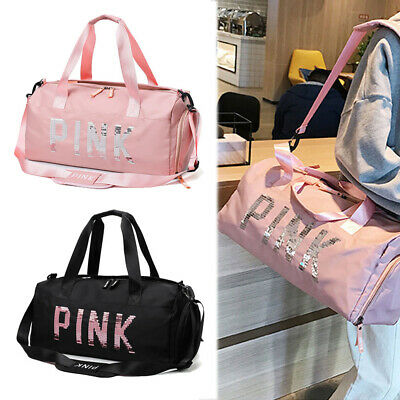 Men&Women's PINK TOTE BAG Sports Duffle Workout Gym Yoga Carry On Luggage Travel