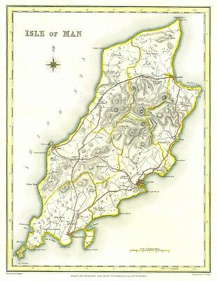 Genuine Antique map of Isle of Man 1831. S Lewis. Expertly hand coloured