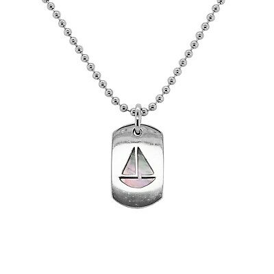 49956144d Honora Sterling Silver White Mother of Pearl Sailboat Cutout Dogtag  Necklace 14
