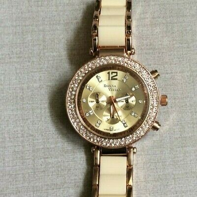 Donna Vivian Rose Gold Women's Watch Crystal Round Dial Rose Gold & Beige Band!