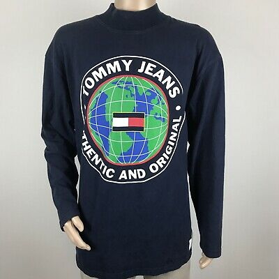 VTG 90s Tommy Hilfiger Tommy Jeans XL Long Sleeve Shirt Blue Globe Spell Out USA