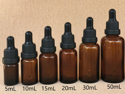 5/10/15/20/30/50ml Empty Round Bottle Amber Glass Eye Dropper With Cap-Essential