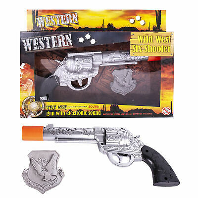 Wild West Six Shooter Cowboy Hand Gun Toy Electronic Sound Child With Badge