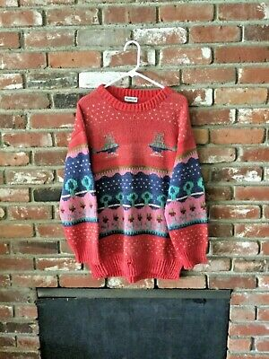 Mens Vintage Hand Made In Peru 100% Wool Knit Sweater Helicopter Print Sz L 80'S