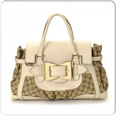 f3afe5edf478 Gucci Gold Bow Ivory leather Dialux Fabric Hobo Bag