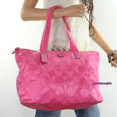 NWT Coach Signature Nylon Packable Weekender Tote Bag F77321 Hot Pink NEW RARE