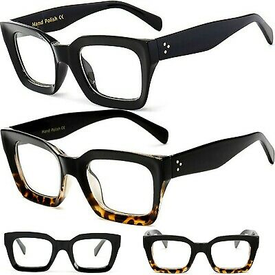Black Leopard Chunky Curved Frame Clear Lens Fashion Glasses Womens Mens