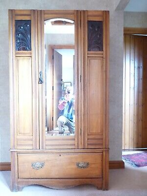 Antique Edwardian Pine Wardrobe with carved inlay panels bevelled edge mirror