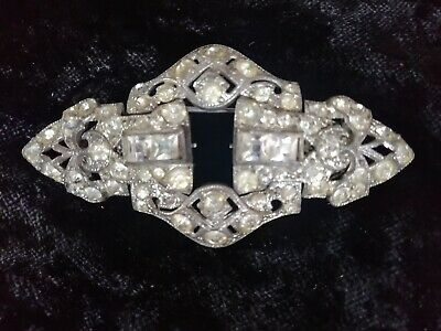 Vintage Art Deco Duette Double Diamante Paste Dress Clip Brooch unusual Fitting