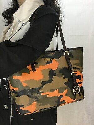 7d152c62e82b MICHAEL KORS JET SET SMALL CAMO Tote Bag POPPY ORANGE RARE - $159.00 ...