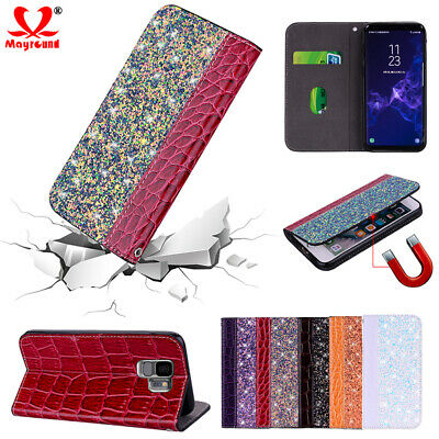 Bling Leather Magnetic Flip Stand Wallet Case Cover For Samsung Galaxy S10 S9 A7
