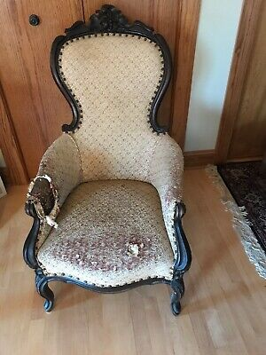 Antique Victorian Rose Carved Balloon Back Lounge Fireside Parlor Arm Chair