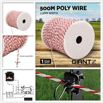 Polywire 500m Roll Electric Fence Energiser Stainless Steel Poly Wire 2.3mm New
