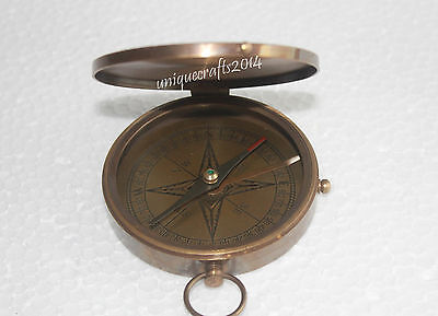 "Antique Brass Flat Compass 3""Beautiful Pocket Compass Nautical Marine Decor Item"