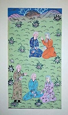 Early Persian Painting Picnic Theme Handmade Antique Miniature Fin Artwork