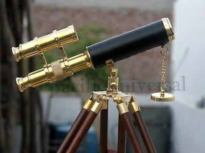 Solid Brass Leather Telescope Spyglass Astrolabe Collectible Repro Marine Item.
