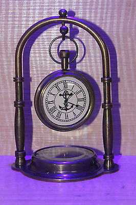 Handmade Maritime Replica Decor Table Clock Solid Brass Watch W/Compass Gift