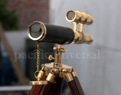 Marine Collectible Solid Brass Leather Telescope Ship Working Replica Decor Item