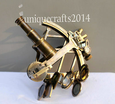 """9"""" Vintage Heavy Brass Nautical Maritime Collectible  Sextant Ship Working Item."""