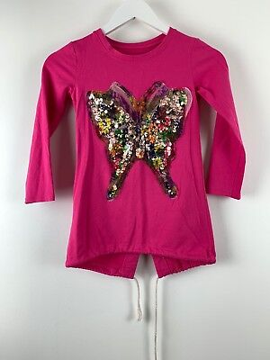 Girls Shirt Age 8 years Buterfly Print Pink Crew Neck Long Sleeve *E