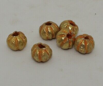 6 X Post Medieval Gold Beads - No Reserve 060