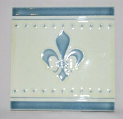 "Antique Tile Fleur Di Lis Marked Helman around a Sword 6"" x 6"" EC"