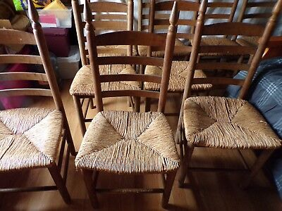 12 EARLY 1800's SHAKER  ( 10 side, 2 captain) CHAIRS ORIGINAL RUSH SEAT
