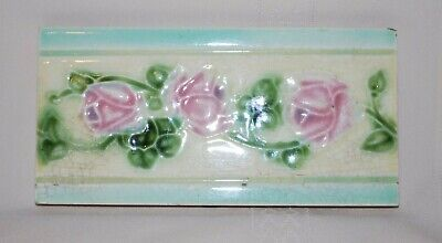 "Antique Tile Art Nouveau Pink Roses and Vine Leaves 6"" x 3"" Marked England"