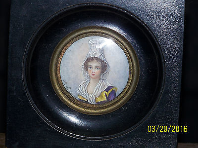 Antique c17th/18th Century French Hand Painted Miniature Artist Signed Portrait