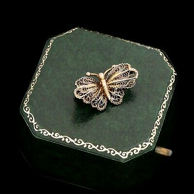 Antique Vintage Nouveau Sterling Silver English Filigree Butterfly Pin Brooch
