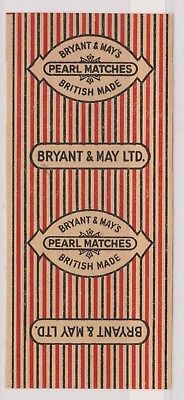 Old Matchbox Artb Label Uk, Bryant & May's, Pearl Matches