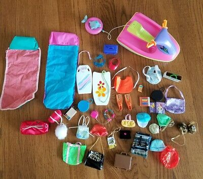 Large Lot Of Barbie Accessories Water  Sports , Sleeping Bags, Backpacks, ect.