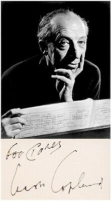 JEWISH Composer AARON COPLAND Hand SIGNED AUTOGRAPH + PHOTO + DECORATIVE MAT