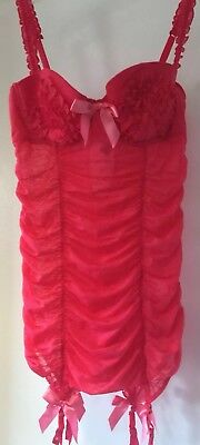 Victoria's Secret Red Gathered Ruffled Bows Underwired Chemise Suspenders 36B
