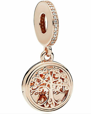 Genuine Silver Rose Gold Locket Family Roots Pendant Charm S925 + Pandora pouch