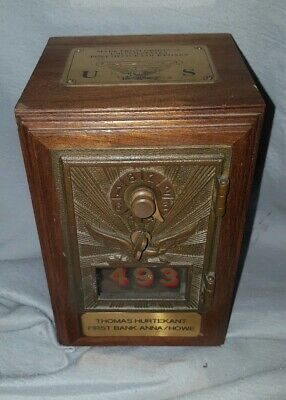 Vintage Post Office Mail Box Door Wooden COIN BANK Flying Eagle No Combination