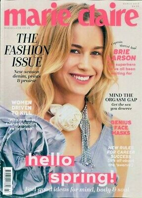 Marie Claire Magazine Full Size March 2019 ~ Brie Larson Cover & Interview ~