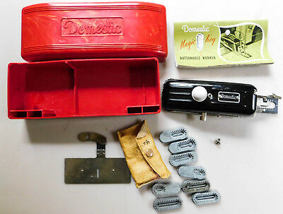 Vintage Domestic Magic Key Buttonhole Worker Red Marbled Plastic Lucite Case