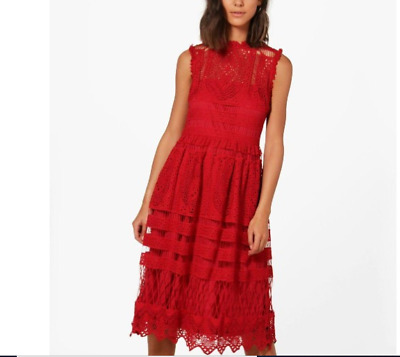 b9741c495a499 BOOHOO BOUTIQUE LACE Midi Skater Dress US SIZE 10 RED $ 70.00 ...