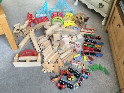 Over 140 Pieces Of Brio & Brio Compatible Wooden Train Set Including Pirate Set