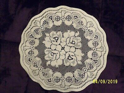 """Lace Table Doily Ivory Roses and Bows design  14""""round  set of 2"""