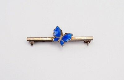 Vintage Meka Sterling Denmark blue enamel butterfly bar pin brooch Scandinavian