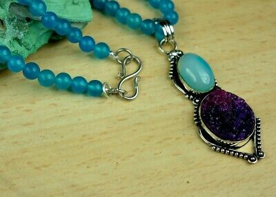 Lace Agate & Mix Gemstone Stylish Chalcedony Beads Bollywood Necklace Chain Pend